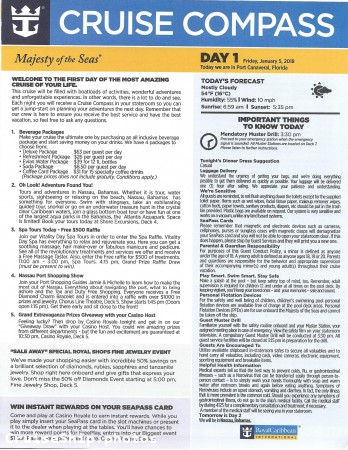 Majesty Of The Seas 3 Night Bahamas Cruise - 01/05/2018 - Cruise Compass - Day 1 - Page 1