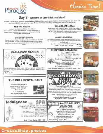 Grand Classica 2 Night Bahamas Cruise - 06/30/2018 - Daily Planner - Day 2 - Page 1
