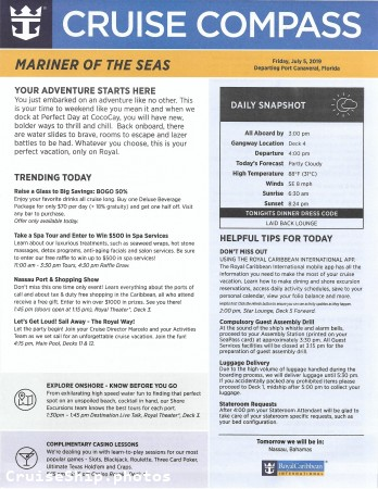 Mariner Of The Seas 3 Night Bahamas & Perfect Day Cruise - 7/5/2019 - Cruise Compass - Day 1 - Page 1