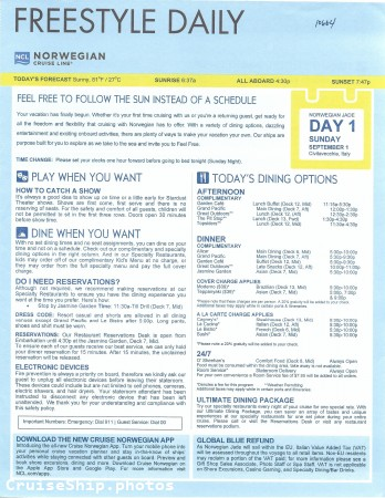 Norwegian Jade 11-Day Greek Isles & Italy From Rome (Civitavecchia) - 9/1/2019 - Freestyle Daily - Day 1 - Page 1