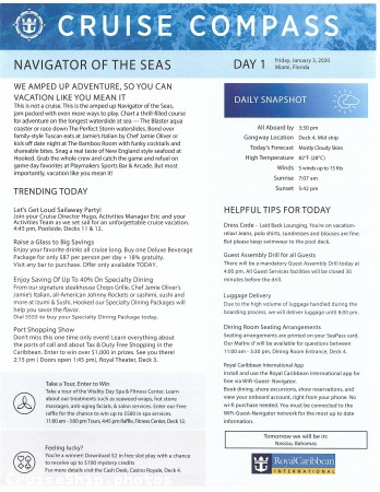 Navigator Of The Seas 3 Night Bahamas & Perfect Day Cruise - 1/3/2020 - Cruise Compass - Day 1 - Page 1